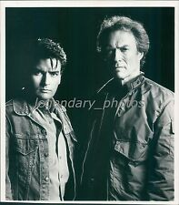 1990 Clint Eastwood with Charlie Sheen Original News Service Photo
