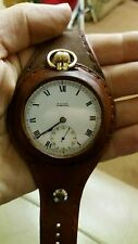 Vintage Solid 9ct Gold Pocket Watch with New Leather strap excellent timekeeper