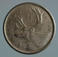 1960 Canada quarter - this 25 cent coin is 80% silver