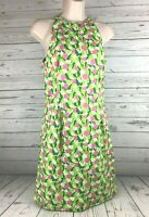 Lilly Pulitzer Pink Green Floral Summer Dress Cotton Sleeveless Lined Size 6