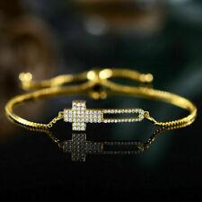 3.50Ct Round Cut Diamond Cross Bracelet Adjustable In 14K Yellow Gold Finish