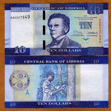 Liberia, 10 dollars 2016 (2017), P-New, AA-Prefix UNC > Redesigned