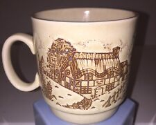 English Countryside Thatched Cottage Made in England Ceramic Relief Mug EUC