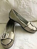 RAMPAGE 8M LULLABUY Silver Textured Metallic Loafers w/Silver Buckle On Toe Flat
