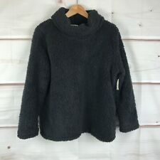 Style & Co Womens Petite Faux Sherpa Cowl Neck Sweater Pullover Black Relaxed PL