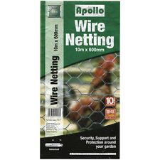 Apollo Galvanised Wire Garden Netting/Fencing - 10m x 600mm - 13mm Weave (17417)