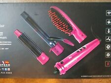 $199 Royale Hair Deluxe 3 in 1 Styling Wand Tourmaline Iron Set in Pink Brush