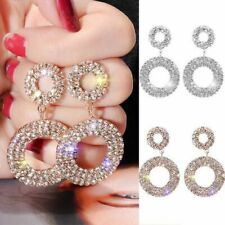 925 Silver Post Crystal Round Hoop Earrings Womens Wedding Party Jewelry Gift UK
