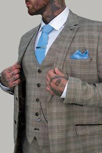 Mens Cavani Brown Check Peaky Blinders Wedding Tailored Fit 3 Piece Suit SALE!!!