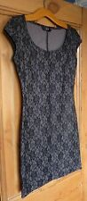 Gorgeous Double Layer Flower Design Black Lace Dress. By F&F Size 8.