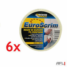 6x Euroscrim Self Adhesive Plasterboard Scrim Jointing Repair Tape 48mm x 90m