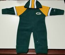 NFL Green Bay Packers Green and Gold Reebok Hooded Infant Fleece Sleeper 12 Mos
