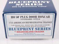 Branchline 1715 HO 50' Plug Door Boxcar Kit American Reefer ART WADX #3333
