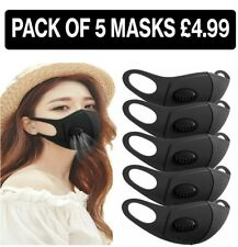 5 XFace Mask With Air Filter Black Reusable Washable Breathable Dust Mouth Cover