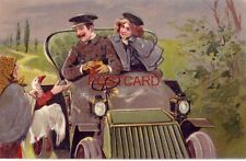 Old Woman Selling Goose To Passers-By In Antique Automobile - embossed