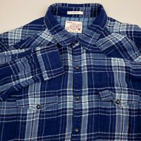 LUCKY Mens Pearl Snap Western Shirt Long Sleeve Medium Classic Fit Plaid Blue