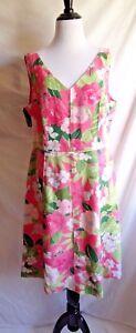 Adrianna Papell 14 Pink & Green Tropical Hawaiian Flower Leaf Print Linen Dress