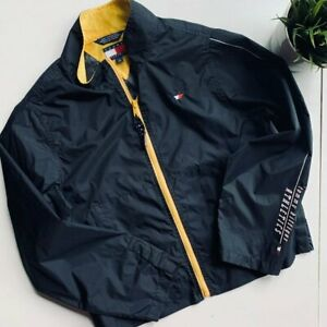 TOMMY HILFIGER Full Zip Windbreaker Jacket Navy Blue Youth LARGE EUC