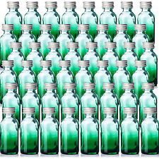 Green Glass Shaded Boston Round 1oz Bottles Qty 48 w/ Silver Aluminum Caps. New