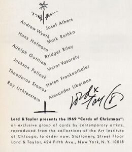 1969 Lord & Taylor: Cards of Christmas Vintage Print Ad