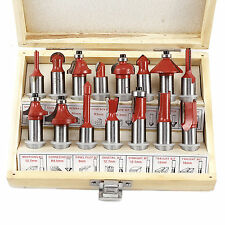"1/2"" Shank Router Bit Set 15 Piece Carbide Tip Ball Bearing w/ Wood Case New"