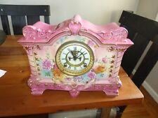 """Antique Ansonia Royal Bonn """"La Palma"""" Open Escapement Clock Pink Porcelain"""