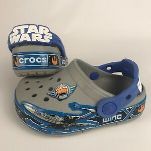 CROCS Star Wars Light-Up Clogs - Size C 7 Toddler Boy Child Gray X-Wing Fighter