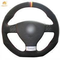 Black Suede Steering Wheel Cover for VW Golf 5 Mk5 GTI R32 Passat R GT #DZ102