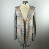 Maurices Womens M Gray Sparkle Metallic Open Front Cardigan Sweater Fringe