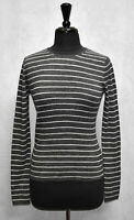 B6 NWT VINCE Grey & White Stripe Rib Knit Wool Pullover Sweater Size M $235
