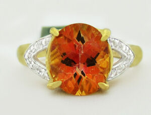 AZOTIC TOPAZ 3.16 Cts & GENUINE DIAMONDS RING 10K GOLD ** New With Tag **
