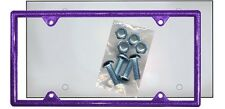 Purple Glitter Plastic License Plate Frame Kit Bling Gifts Ladies Shield Screws