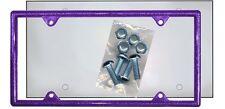 Purple Glitter Plastic License Plate Frame Kit Bling Gifts Ladies Shield Screws