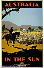 1935 Australia in the Sun Australian Travel Advertisement Vintage Poster Print
