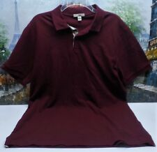 Burberry Brit 'Oxford' Short Sleeve Polo in Burgundy - Size XL - $175