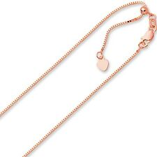 """.85mm Solid Adjustable Box Chain Necklace REAL 14K Rose Pink Gold Up To 22"""" 3.3g"""