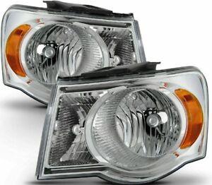 For 2007-2009 Chrysler Aspen HeadLights HeadLamps Chrome/Clear Right + Left 2PCS