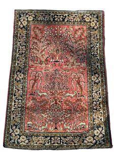 Silk Handmade Rug, Red, Brown & Navy blue, Trees, birds & deers, about 40x59