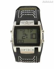 Softech Men's Designer Digital Watch Wide Black Strap Sportswatch Rectangle Face