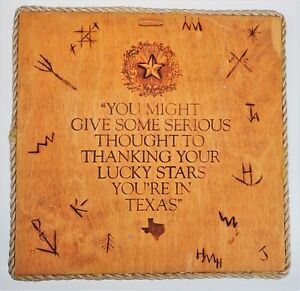 Wood Plaque 11x11 Sign Thank Your Lucky Stars You're in Texas TX Country Rope
