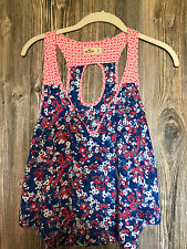 Hollister Jrs. Flowy Sleeveless Top Sz XS Blue with Pink