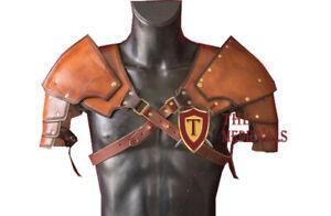 Medieval Leather Shoulder Pear articulated genuine viking Sca Larp Armor