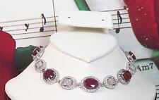 Natural Ruby 8x5mm & Cubic Zirconia With 925 Sterling Silver Bracelet. SS0001