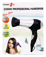 Professional Hair Dryer With 2 Speed 3 Heat Setting Concentrator Nozzle 2200W