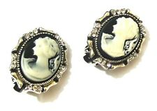 Silver Black Cameo Clip on Crystal Diamante Earrings Vintage Antique Style Women