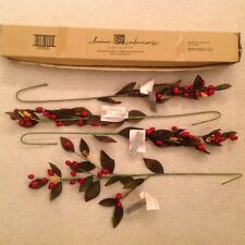 3 HOMCO Home Interiors NEW Red Berry Holiday Floral Stems Greenery CHRISTMAS