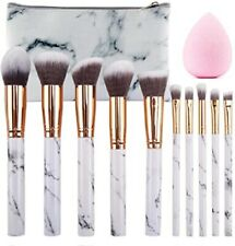 White Marble Colour Makeup Face Eye Powder 10 PCS Brushes and Light Pink Sponge