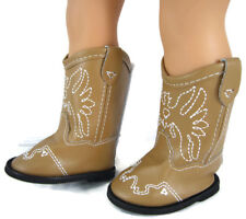 Tan Cowboy Western Boots fits 18 inch American Girl Doll Clothes Shoes Cowgirl