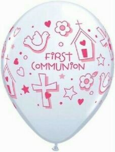 FIRST HOLY COMMUNION BALLOONS - Choose amount - QUALATEX PARTY DECORATIONS pink