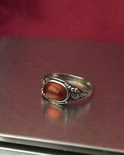 Vintage Sterling Silver Oval Cognac Amber Ring Size Q Hallmarked.